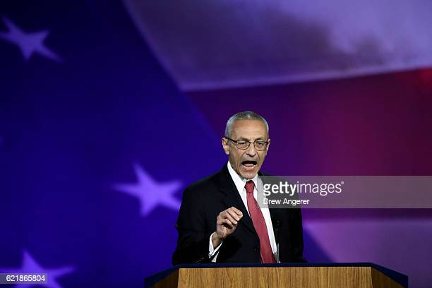 Campaign chairman John Podesta speaks on stage at Democratic presidential nominee former Secretary of State Hillary Clinton's election night event at...