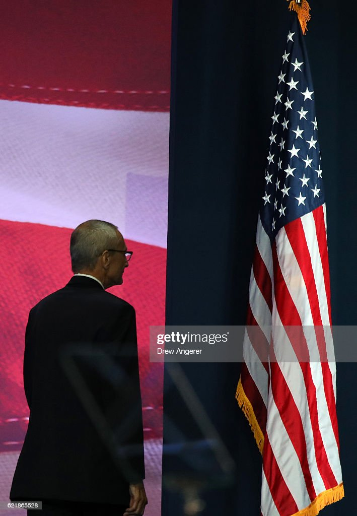 Campaign chairman John Podesta takes the stage to speak at Democratic presidential nominee former Secretary of State Hillary Clinton election night event at the Jacob K. Javits Convention Center November 9, 2016 in New York City. Clinton is running against Republican nominee, Donald J. Trump to be the 45th President of the United States.