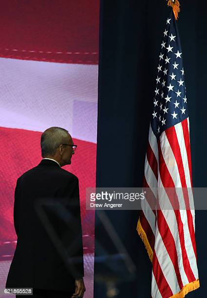 Campaign chairman John Podesta takes the stage to speak at Democratic presidential nominee former Secretary of State Hillary Clinton election night...