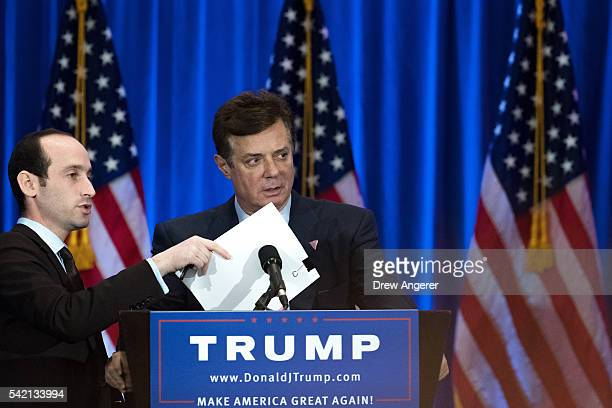 Campaign chairman Paul Manafort checks the podium before Republican Presidential candidate Donald Trump speaks during an event at Trump SoHo Hotel...