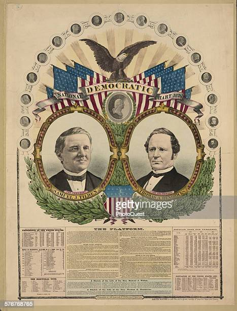 Campaign chart featuring the portraits of Democratic presidential candidate Samuel J Tilden and running mate Thomas A Hendricks and smaller medallion...