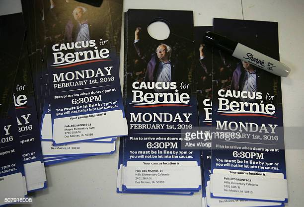 Campaign door tags of Democratic presidential candidate Sen Bernie Sanders are seen at his campaign headquarters February 1 2016 in Des Moines Iowa...
