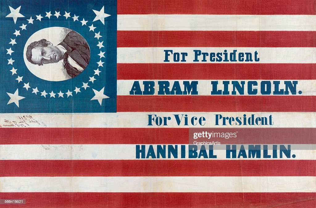 Campaign flag for the Abraham Lincoln and Hannibal Hamlin presidential ticket; ink on linen, 1860.