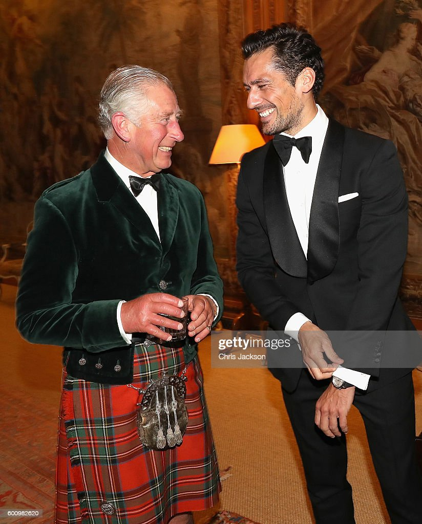 Campaign for Wool Patron Prince Charles, Prince of Wales and supermodel and face of M&S David Gandy attend a private dinner ahead of the inaugural Dumfries House Wool Conference on September 8, 2016 in Dumfries, Scotland. Dumfries House Wool Conference is a gathering of key members of the fashion, interiors and wool industry organised by the Campaign for Wool and supported by M&S.
