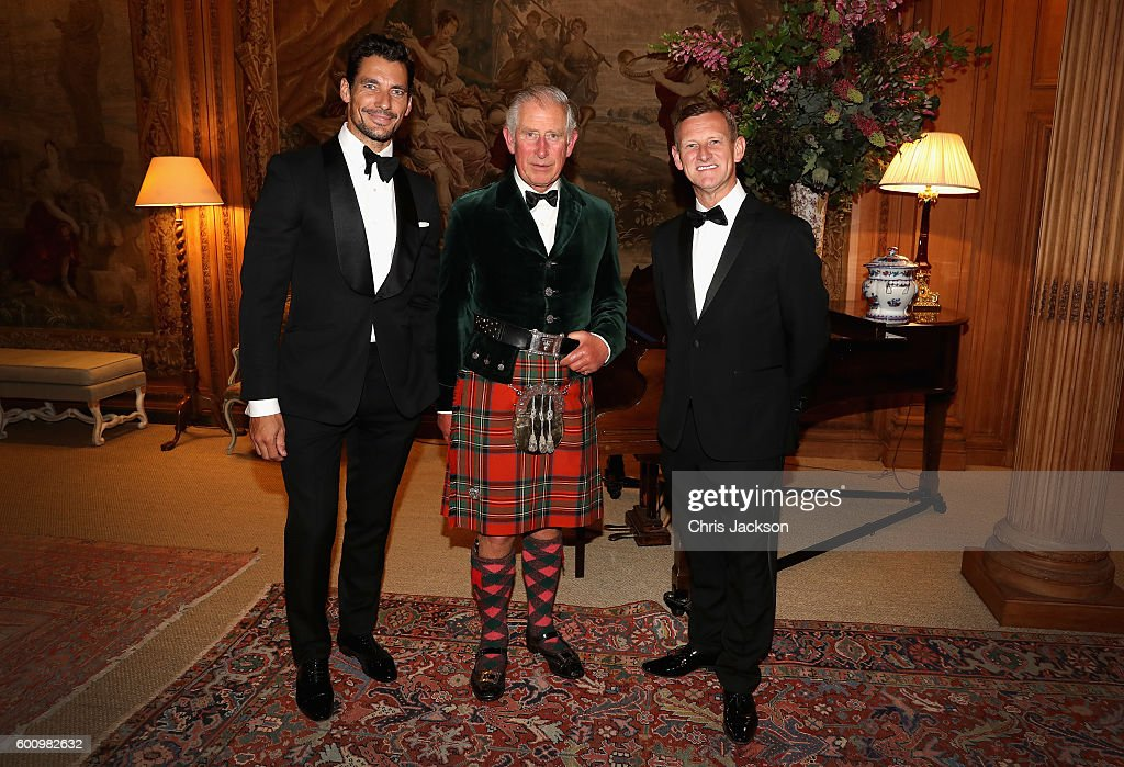 Campaign for Wool Patron Prince Charles, Prince of Wales, M&S CEO Steve Rowe and supermodel and face of M&S David Gandy attend a private dinner ahead of the inaugural Dumfries House Wool Conference on September 8, 2016 in Dumfries, Scotland. Dumfries House Wool Conference is a gathering of key members of the fashion, interiors and wool industry organised by the Campaign for Wool and supported by M&S.