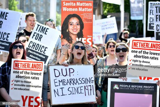 Campaign group Solidarity with Repeal holds a rally calling for abortion rights outside Belfast City Hall on May 28 2018 in Belfast Northern Ireland...