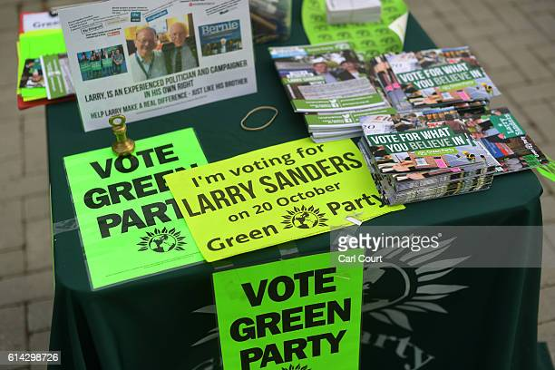 Campaign literature is displayed as Green Party prospective parliamentary candidate Larry Sanders who is the brother of former US Democrat...