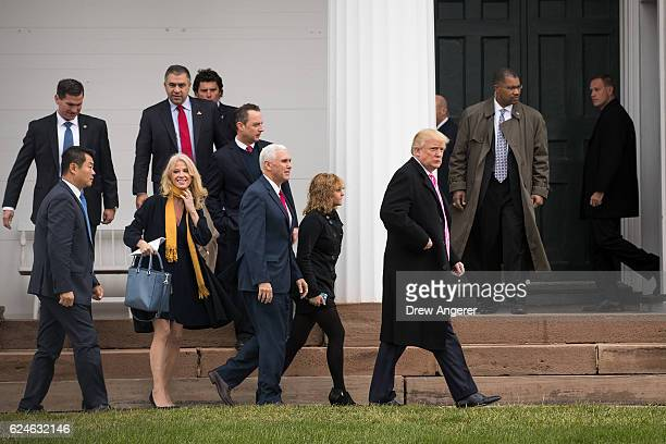 Campaign manager Kellyanne Conway Reince Priebus Trump's pick for White House Chief of Staff Vice Presidentelect Mike Pence Charlotte Pence and...
