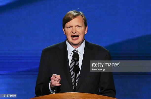 Campaign Manager, Obama for America Jim Messina speaks on stage during the final day of the Democratic National Convention at Time Warner Cable Arena...