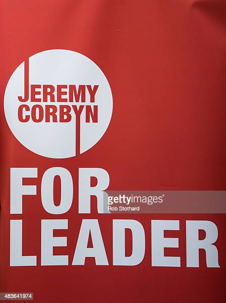 Campaign material for supporters of Jeremy Corbyn for the Labour Party leadership is seen at the launch of policy ideas for young people at All Star...