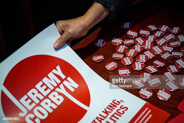 Campaign material for supporters of Jeremy Corbyn for the Labour Party leadership are seen at the launch of policy ideas for young people at All Star...