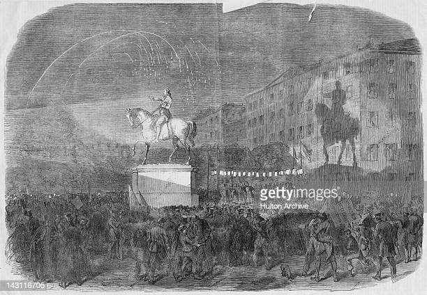 A campaign meeting in support of Democratic presidential nominee George B McClellan in Union Square New York 1864 McClellan a former Civil War...