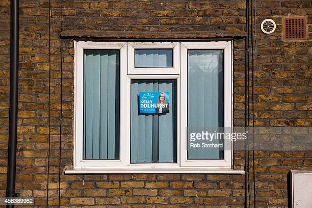 A campaign poster for Conservative parliamentary candidate Kelly Tolhurst are seen in the window of a house on November 4 2014 in Rochester England...
