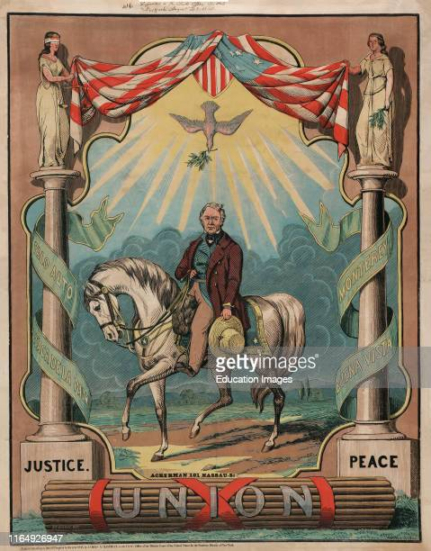 Campaign Poster for Democratic Nominee Zachary Taylor, Lithograph, Thomas W Strong, Ackerman Publ, 1848.