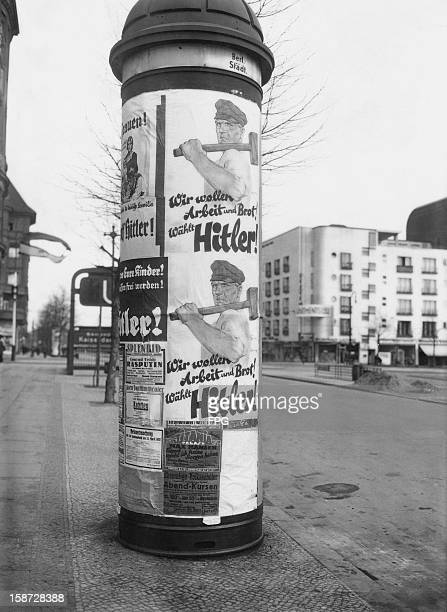 A campaign poster for presidential candidate Adolf Hitler in Berlin Germany 1st April 1932