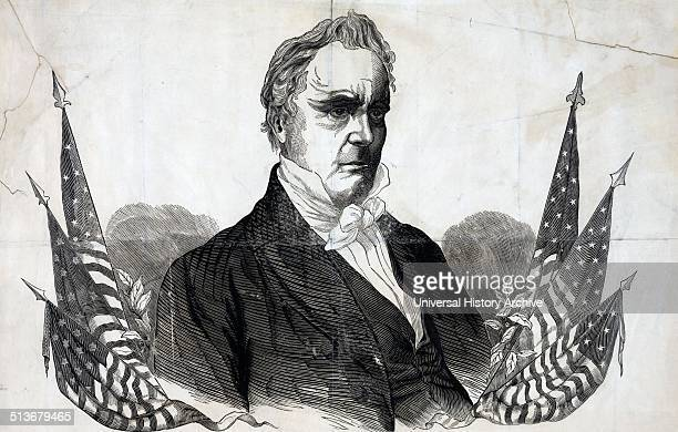 Campaign poster or banner for Democratic presidential nominee James Buchanan A bustlength portrait of Buchanan is flanked by American flags and...