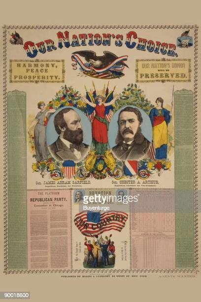 Campaign poster showing headandshoulders portraits of James Garfield and Chester A Arthur with text and patriotic images including an American eagle...