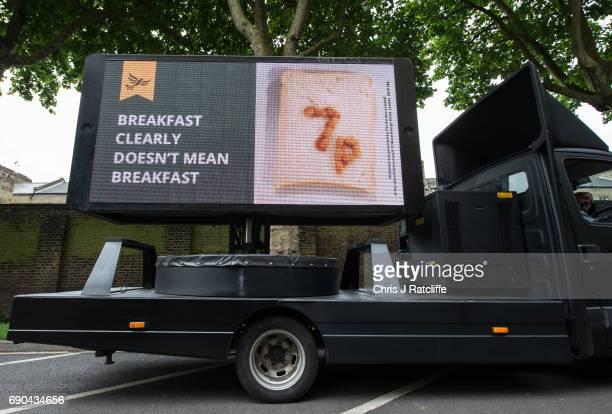A campaign poster sign is displayed before Liberal Democrats Party politician Nick Clegg arrives to speak to the media and supporters whilst...