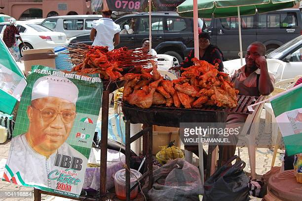 Campaign posters are hung on a grill stand during the rally for the declaration of General Ibrahim Babangida on September 15 2010 on Eagle square...
