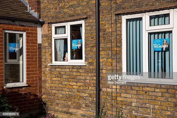 Campaign posters for Conservative parliamentary candidate Kelly Tolhurst are seen in the window of a house on November 4 2014 in Rochester England...