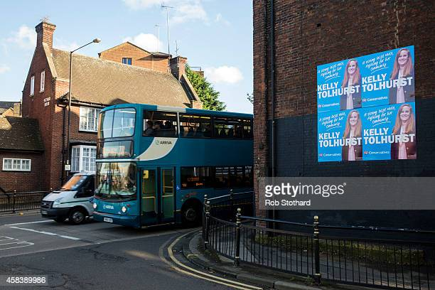 Campaign posters for Conservative parliamentary candidate Kelly Tolhurst are seen in the town centre on November 4 2014 in Rochester England...