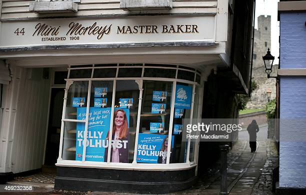 Campaign posters for Conservative party candidate Kelly Tolhurst adorn a shop window on November 19 2014 in Rochester England A parliamentary...