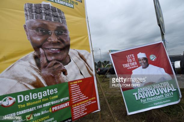 Campaign posters of Atiku Abubakar and Aminu Tambuwal two candidates who are jostling for the People's Democratic Party presidential nomination ahead...