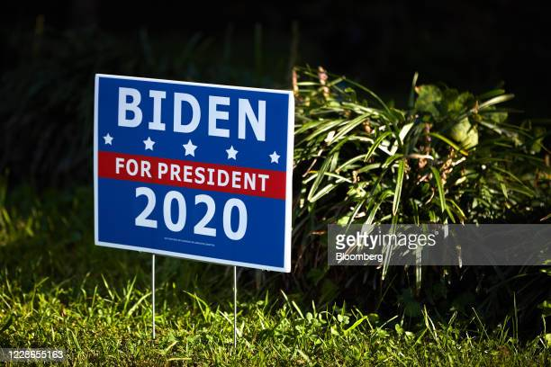 Campaign sign for 2020 Democratic Presidential candidate Joe Biden outside a home in Charlotte, North Carolina, U.S., Monday, Sept. 21, 2020. Now,...