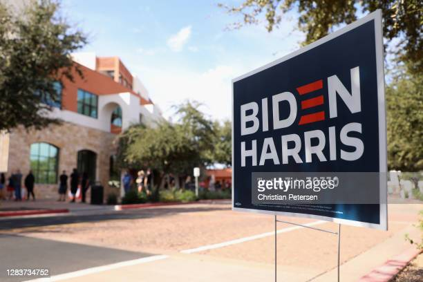 Campaign sign for Democratic presidential nominee Joe Biden is displayed outside of the Surprise Court House polling location on November 03, 2020 in...