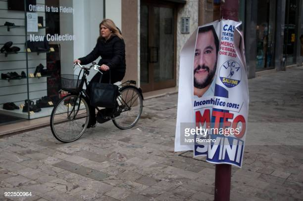 A campaign sign for Matteo Salvini premier candidate for the League is shown near the San Marco Cinema where he was to atttend an event on February...