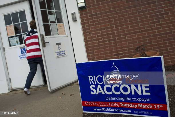 A campaign sign for Rick Saccone Republican candidate for the US House of Representatives is displayed outside the Mount Vernon Presbyterian Church...