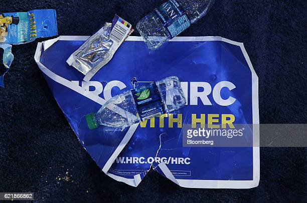 A campaign sign sits covered in trash after an election night party for 2016 Democratic Presidential Candidate Hillary Clinton at the Javits Center...