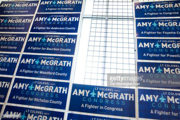 RICHMOND KENTUCKY USA NOVEMBER 6 2018 Campaign signs are arranged for Democratic congressional candidate Amy McGrath at the Eastern Kentucky...