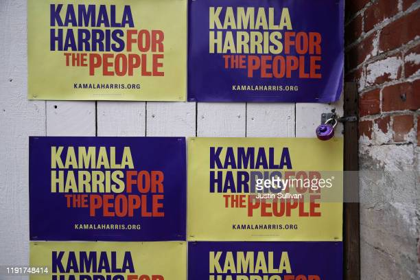 Campaign signs for democratic presidential candidate U.S. Sen. Kamala Harris are displayed on a wall outside of her Oakland campaign office on...