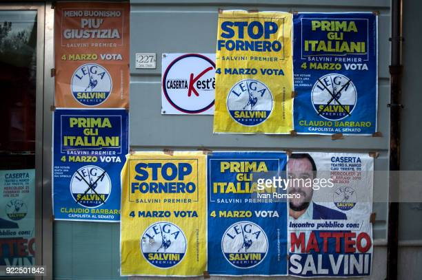 Campaign signs for Matteo Salvini premier candidate for the League is shown near the San Marco Cinema where he was to attend a campaign event on...