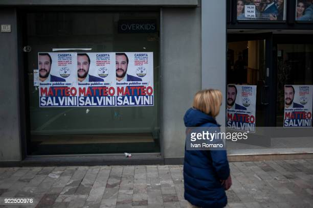 Campaign signs for Matteo Salvini premier candidate for the League are shown near the San Marco Cinema where he was to atttend an event on February...