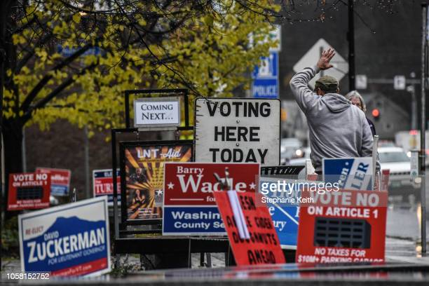 Campaign signs for various candidates are seen outside the Montpelier Town Hall on November 6, 2018 in Montpelier, Vermont. Turnout is expected to be...