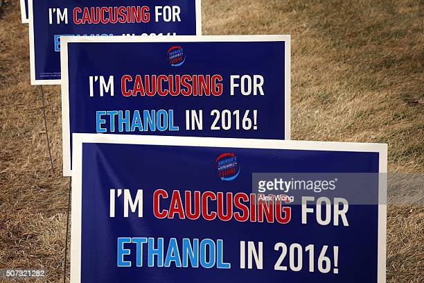 Campaign signs regarding ethanol are seen January 28 2016 in Des Moines Iowa Candidates who are seeking the nominations from the Republican and...