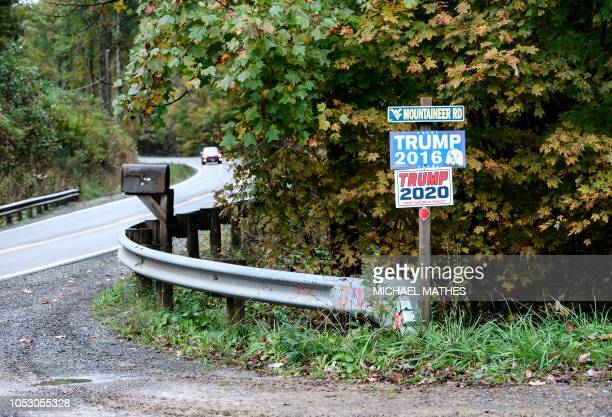 Campaign signs supporting candidate Donald Trump are seen on a country road near Revenseye, West Virginia, October 20, 2018. US Senator Joe Manchin...