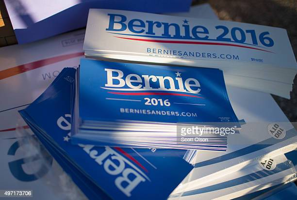 Campaign stickers and signs are stacked up at a rally for Democratic presidential candidate Senator Bernie Sanders near Sheslow Auditorium on the...