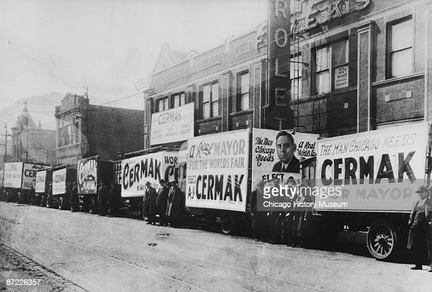 Campaign trucks for Anton Cermak are visible in Chicago's Twentysecond ward 1931