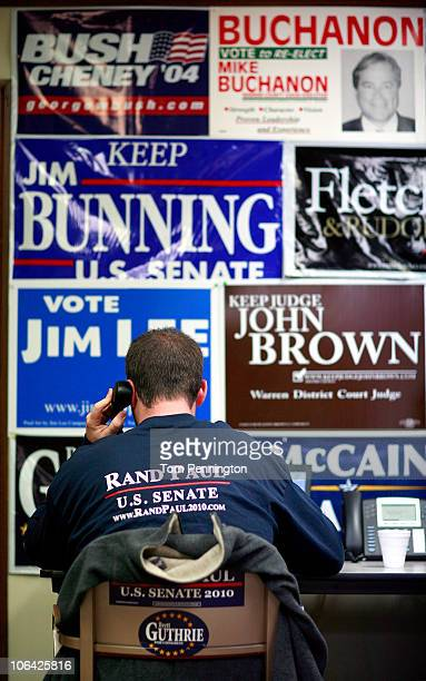 A campaign volunteer works a call center at the Rand Paul Bowling Green Victory Office on November 1 2010 in Bowling Green Kentucky Republican...