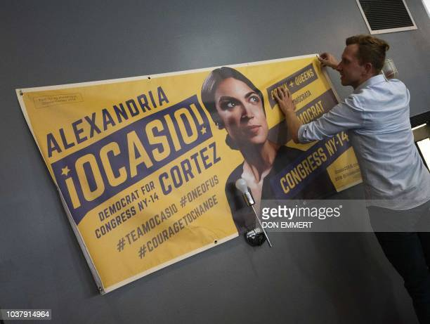 Campaign workers prepare for the arrival of democratic congressional candidate Alexandria OcasioCortez for her general campaign kickoff rally on...