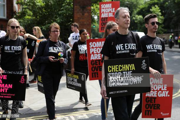 Campaigner Peter Tatchell joins members of the LGBT community and Amnesty International campaigners stage a protest over LGBT rights in Chechnya...
