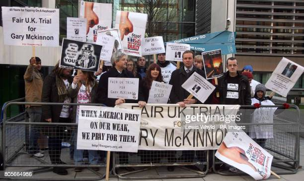 Campaigners for computer hacker Gary Mckinnon protest at the Home Secretary's decision not to halt his extradition to the US outside the Home Office...