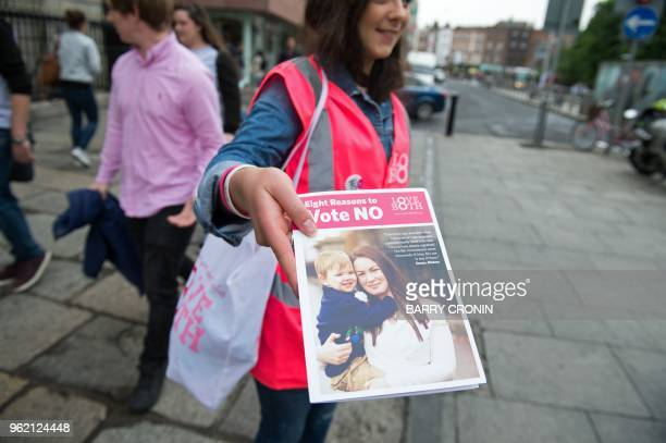 Campaigners for the Love Both prolife campaign canvass members of the public urging people to vote 'no' in the referendum to repeal the eighth...