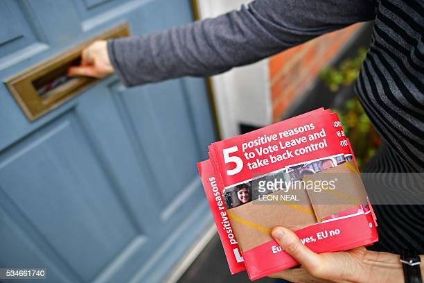 Campaigners for Vote Leave the official 'Leave' campaign organisation for the forthcoming EU referendum deliver leaflets to residents in north London...