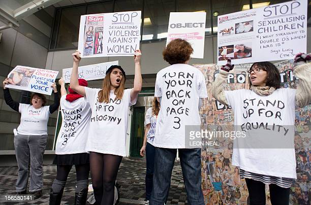Campaigners from OBJECT and Turn Your Back On Page 3 protest over the Sun newspaper's daily photos of topless female models outside the UK offices of...