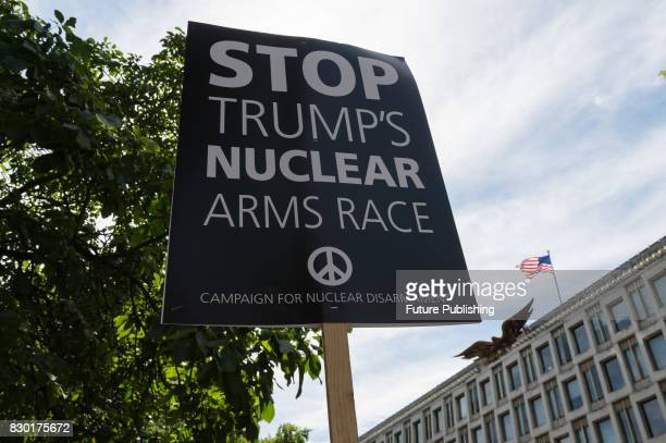 Campaigners from Stop the War Coalition and Campaign for Nuclear Disarmament stage a protest in front of the US Embassy in London to demonstrate...