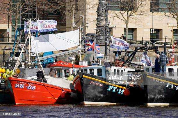 Campaigners prepare their boats for the Fishing For Leave flotilla on March 15 2019 in North Shields United Kingdom Fishing for Leave are supporting...